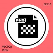 Black Png File Document. Download Png Button Icon Isolated On Red Background. Png File Symbol. White poster