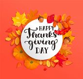 Banner For Happy Thanksgiving Day Celebration With Frame And Seasonal Fall Leaves, Rowan, Pumpkin, A poster