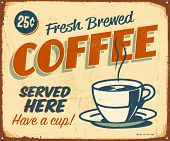 Vintage metal sign - Fresh Brewed Coffee - Raster Version.