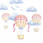 Watercolor Baby Clip Art. Colorful Air Balloons Flying In Sky, Clouds, Birds. Kids Prints. Newborn A poster