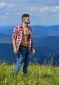 Hiking Concept. Strong Hiker Muscular Torso. Athlete Muscular Guy Relax Mountains. Power Of Nature.  poster