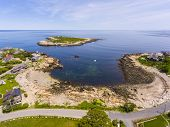 Aerial View Of Straitsmouth Cove Landing And Straitsmouth Island, Rockport, Cape Ann, Massachusetts, poster