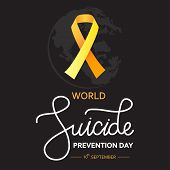 World Suicide Prevention Day Concept With Awareness Ribbon. Dark Vector Illustration For Web And Pri poster