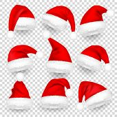 Christmas Santa Claus Hats With Fur And Shadow Set. New Year Red Hat Isolated On Transparent Backgro poster