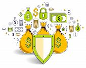 Shield Over Money Bags, Savings Insurance, Safe Business, Financial Protection Concept, Investments  poster