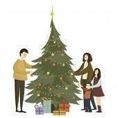 Family Dress Up The Christmas Tree. Cartoon Illustration With A Christmas Tree. Happy Family Get Rea poster
