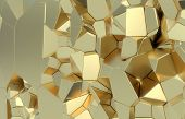 3d Render, Golden Modern Shattered Wall Texture, Random Clusters Digital Illustration, Abstract Geom poster
