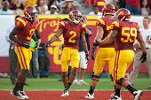 LOS ANGELES - SEP 17: USC Trojans WR Robert Woods #2 celebrates a TD during the NCAA Football game b