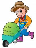 Cartoon farmer with small hay cart - vector illustration.