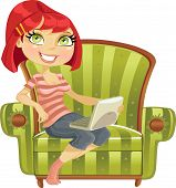 cute girl with a laptop in a armchair