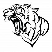 Tiger Logo. Black White Illustration Of A Tiger Head. Portrait Of A Predator. Tattoo Wild Cats. poster