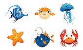 Cute Friendly Sea Creatures Set, Colorful Sea Fishes And Animals Vector Illustration poster