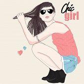 Stylish girl, doodled fashion card
