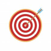 Target Arrow Flat Icon. Arrow Hitting Target. Business Concept. poster