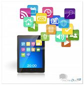 picture of dial pad  - Touchscreen modern tablet pc with cloud of colorful application - JPG