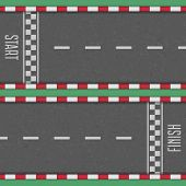 Start And Finish Line Racing Background. Finish, Start Line Kart Race Track In Top View. Grunge Text poster