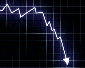 stock photo of line graph  - Arrow graph going down on a dark background - JPG