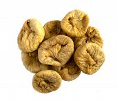 Dried Figs Isolated. Close Up Of Organic Dried Fruits On White Background. Top View. Pile Of Dried F poster
