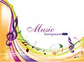 Vector musical background with colorful musical notes and waves and copy space for your text. EPS 10