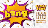 3d Cartoon Comic Font. Kids Alphabet In Style Of Pop Art. Multilayer Colorful Pink-yellow Letters On poster