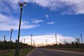 Colorful sky. At sunset, Aksa road