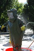 picture of decontamination  - Hazardous materials drill at a hospital with A level chemical protective suits