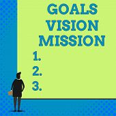 Conceptual Hand Writing Showing Goals Vision Mission. Business Photo Showcasing Practical Planning P poster