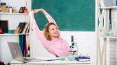 Stretching After Hard Working Day. Teacher Adorable Woman Try To Relax In Classroom. Just Relax. Fin poster