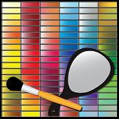 picture of speculum  - Cosmetic set with shadows makeup cosmetic mirror and brush - JPG