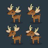 Set Of Reindeer For Christmas Holiday Season. Cute Cartoon Character. Cute Christmas Holidays Cartoo poster