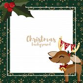 Christmas Holiday Season Background With Cute Reindeer And Holly Berries With Copy Space. Cute Chris poster