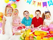 stock photo of face painting  - Children happy birthday party  - JPG