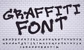 Spray Graffiti Font. City Street Art Wall Tagging Lettering, Dirty Graffitis Numbers And Letters. Gr poster
