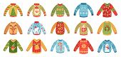 Cartoon Christmas Party Jumpers. Xmas Holidays Ugly Sweaters, Knitted Winter Jumper And Funny Santa  poster