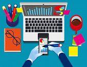 Data Analytics. Business Statistics Information Business Technology, Concept Business Vector Illustr poster