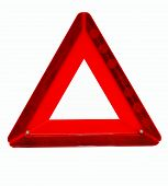 stock photo of traffic sign  - Traffic sign of red colour triangular form emergency stop.