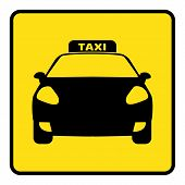 Taxi Icon.icon Travel By Taxi Silhouette.taxi Sign On Yellow Background Drawing By Illustration poster
