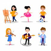 Little Kids Hobby And Education, Vector Flat Cartoon Illustration. Boys And Girls Leisure Activities poster