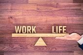 Work Life (work-life) Balance Concept. Helping Hand Of Personal Coach Helps With Work And Life Balan poster