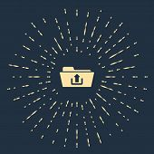 Beige Folder Upload Icon Isolated On Dark Blue Background. Abstract Circle Random Dots. Vector Illus poster