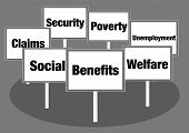 pic of deprivation  - Benefits and welfare concept illustration with signs and text - JPG