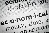 stock photo of glossary  - word economical in English glossary super macro - JPG