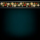Abstract Grunge Background With Floral Composition On Black
