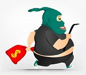 Cartoon Character Cheerful Chubby Man. Thief. Vector Illustration. EPS 10.