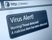 foto of hack  - Closeup of Virus Alert Sign in Internet Browser on LCD Screen - JPG