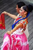 RIVIERA MAYA, CANCUN, MEXICO - JUNE 20: Unidentified Mexican dancers perform in ethnic costumes on stage at the Xcaret Park in Riviera Maya, Cancun, Mexico on June 20, 2012.