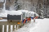 Snowy Mail Boxes All In Row