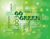 stock photo of save earth  - Go Green Eco Word Cloud Illustration Isolated on Green Bokeh Background - JPG