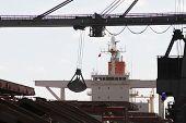 Bulk unloading cranes.