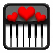 stock photo of jive  - Piano and love hearts isolated on white background - JPG